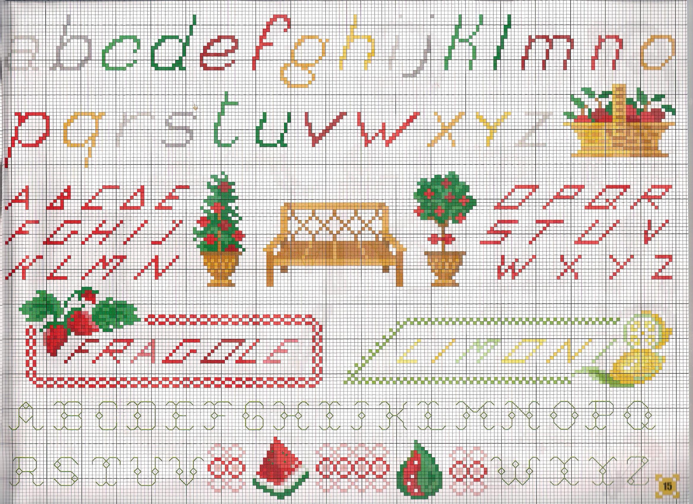 Alfabeto colorato punto croce uncinetto for Schemi punto a croce alfabeto