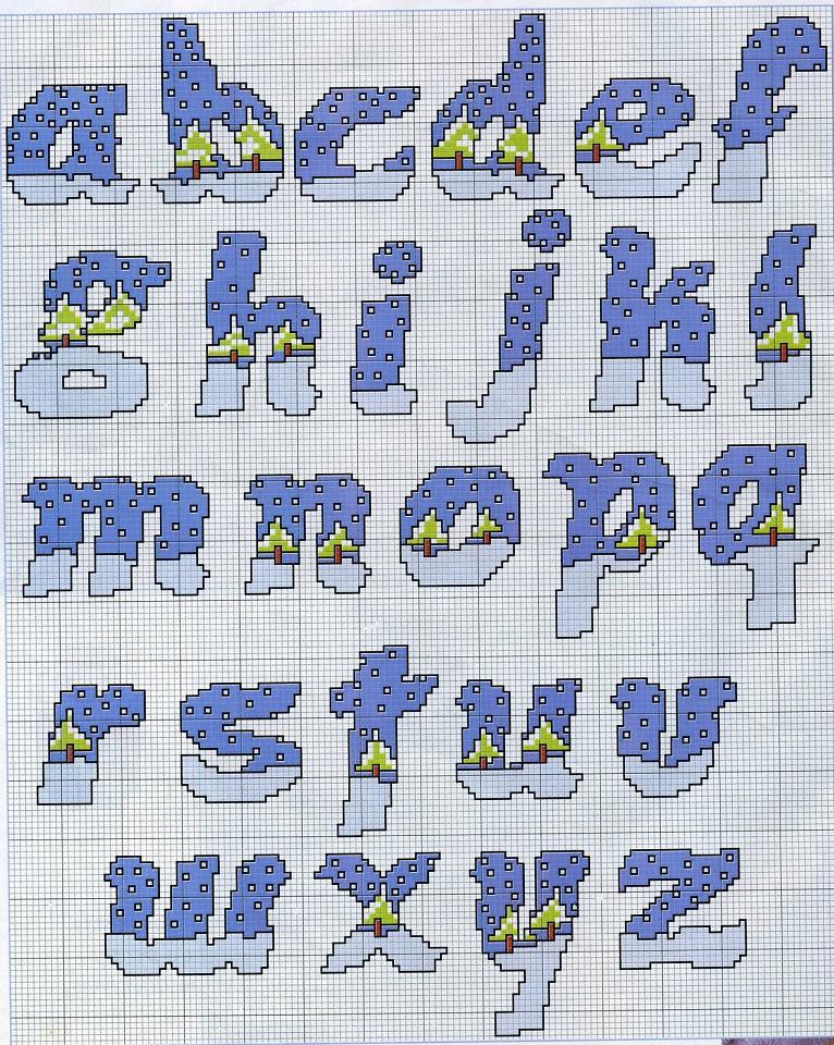 Alfabeto con alberi innevati neve lettere for Schemi punto a croce alfabeto