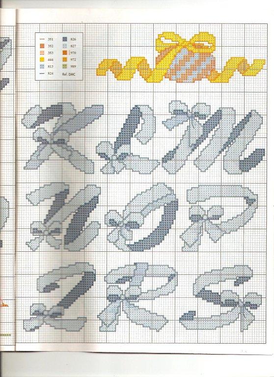Alfabeto con fiocchi1 punto croce for Alfabeto a punto croce schemi