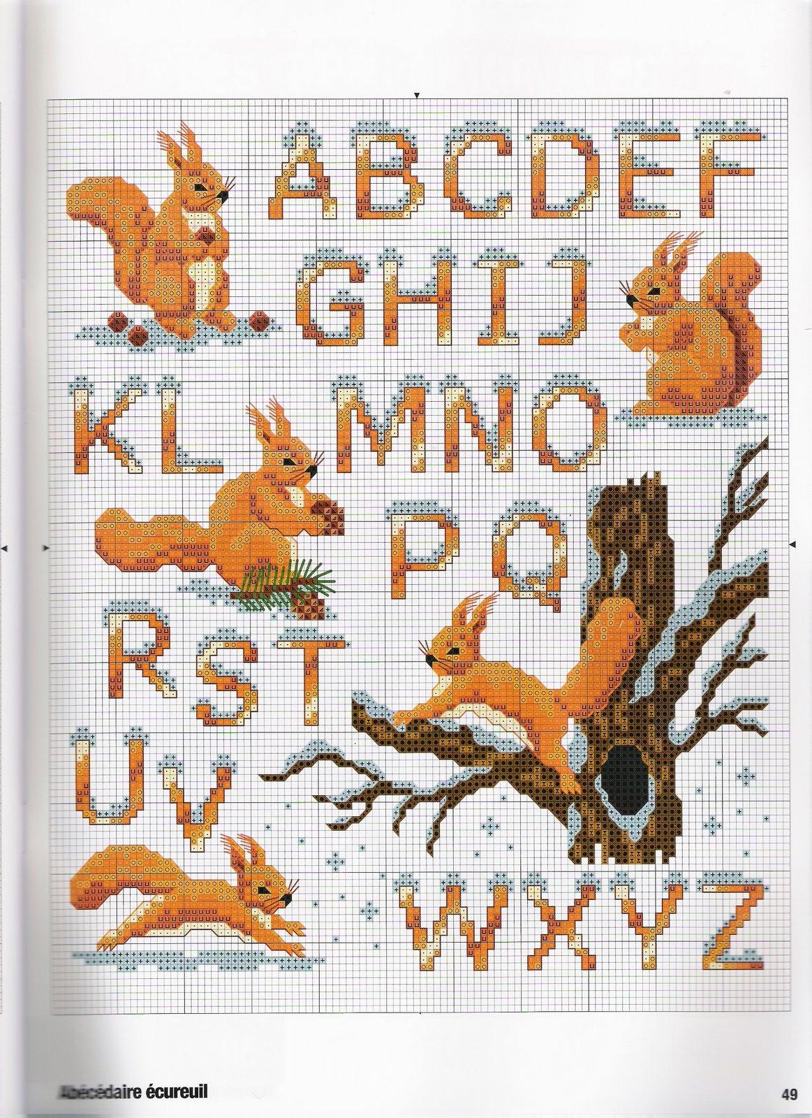 Alfabeto con neve e scoiattoli punto for Schemi punto a croce alfabeto