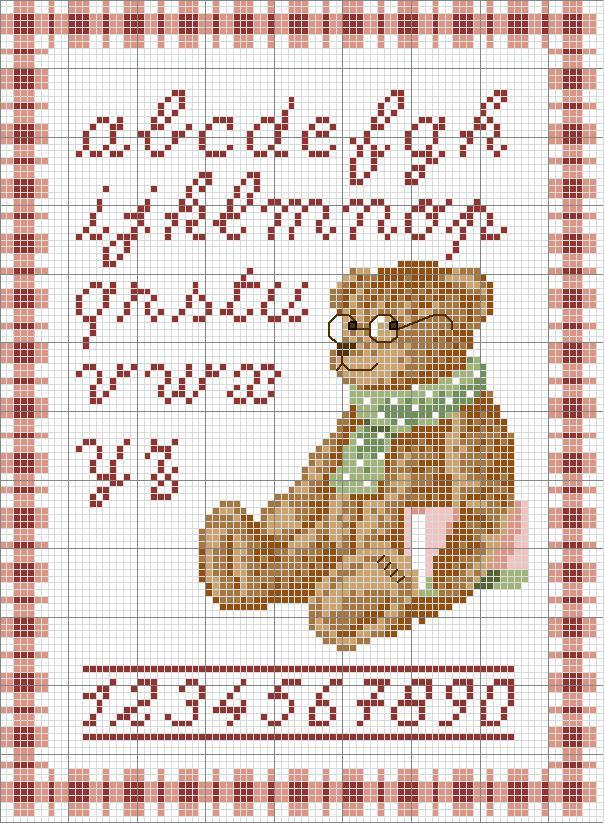 Alfabeto con orso lettere minuscole e numeri magiedifilo for Lettere a punto a croce