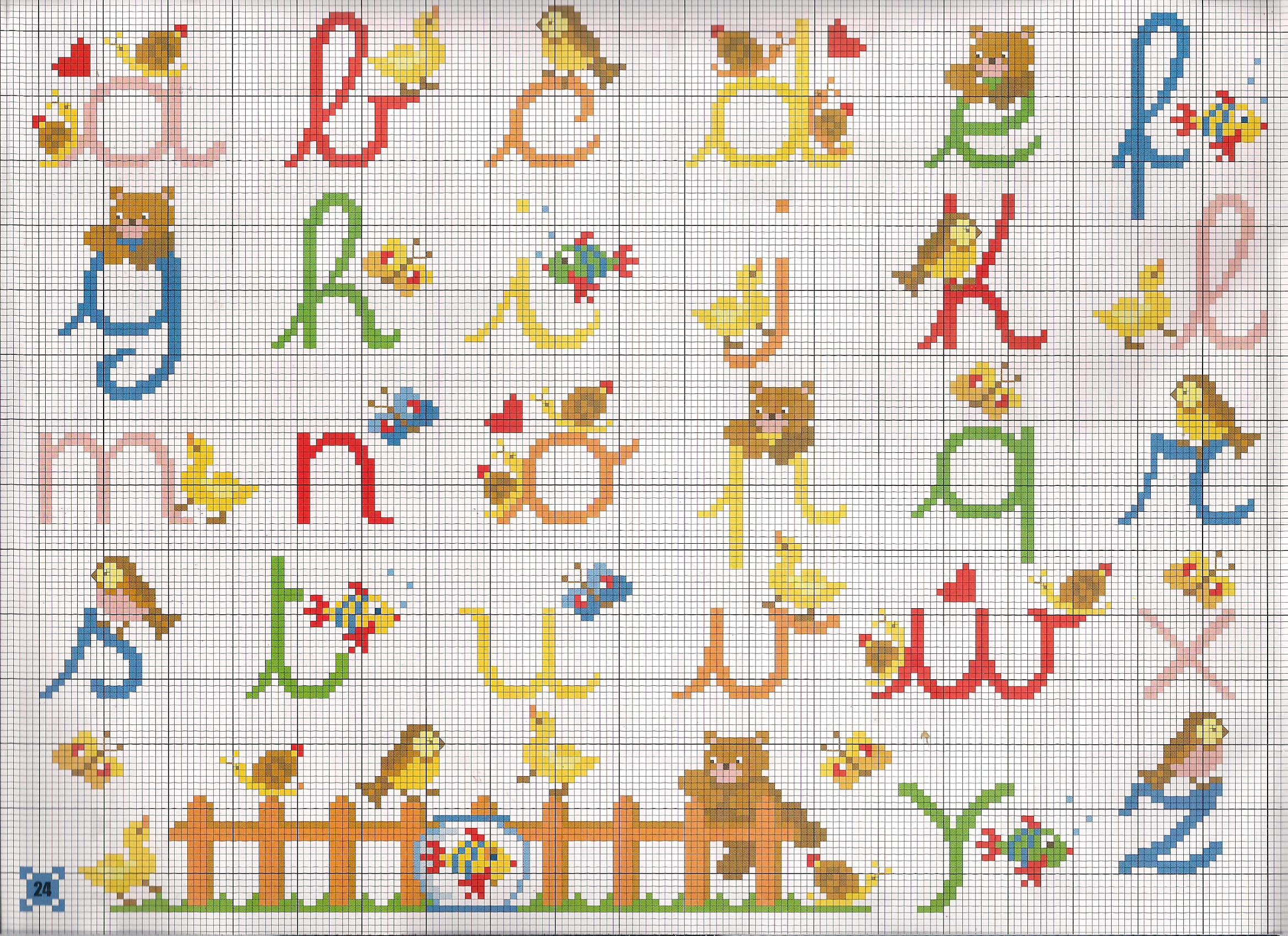 Alfabeto corsivo animaletti punto croce for Schemi punto a croce alfabeto