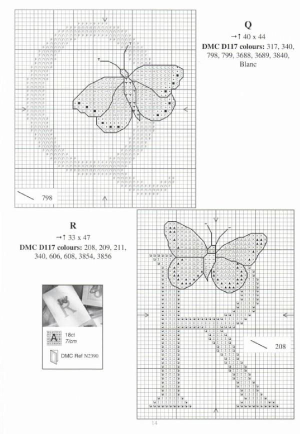 Alfabeto farfalle a punto croce 10 for Schemi punto croce farfalle