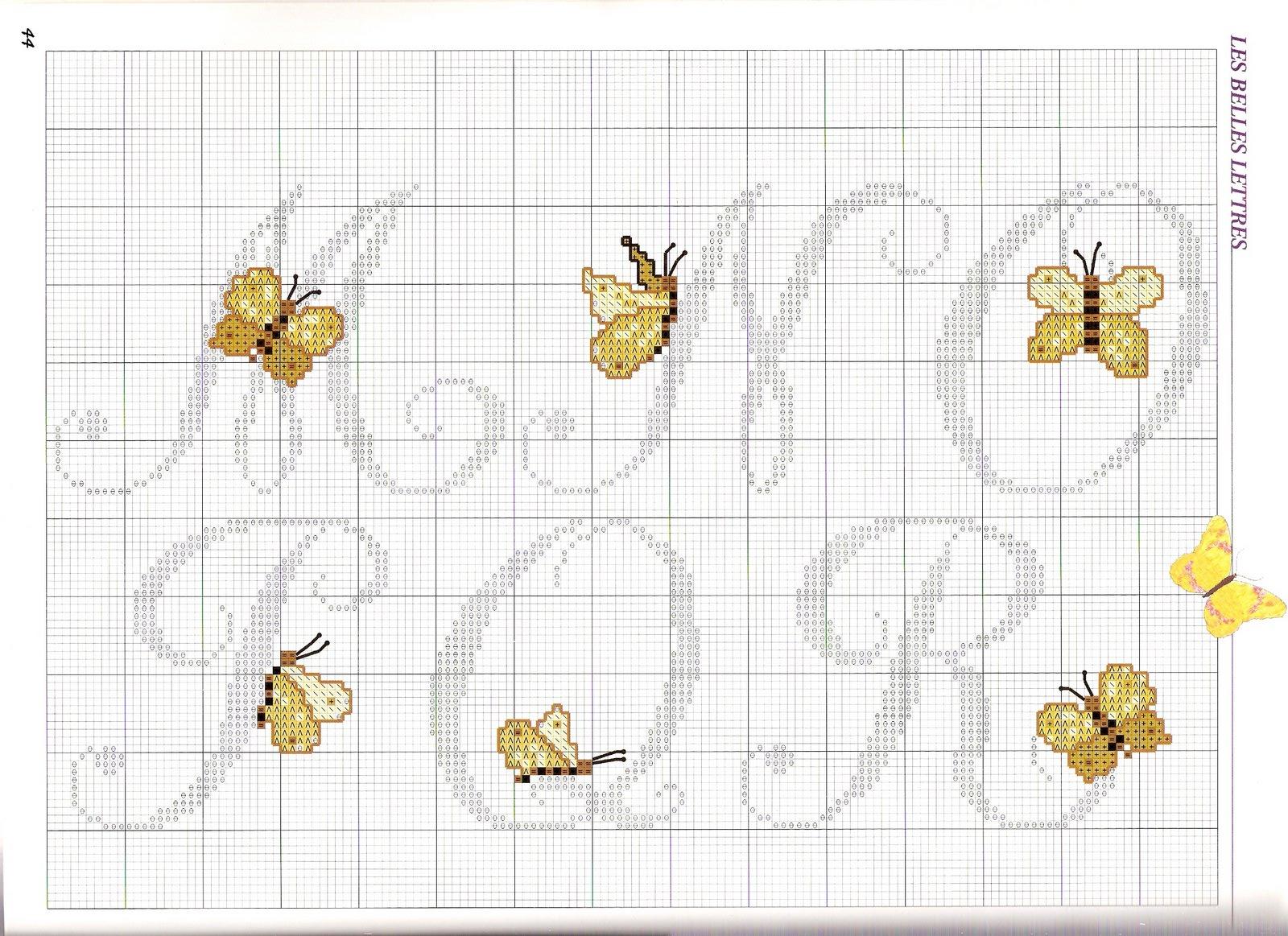Alfabeto farfalle2 punto croce uncinetto for Schemi punto croce farfalle