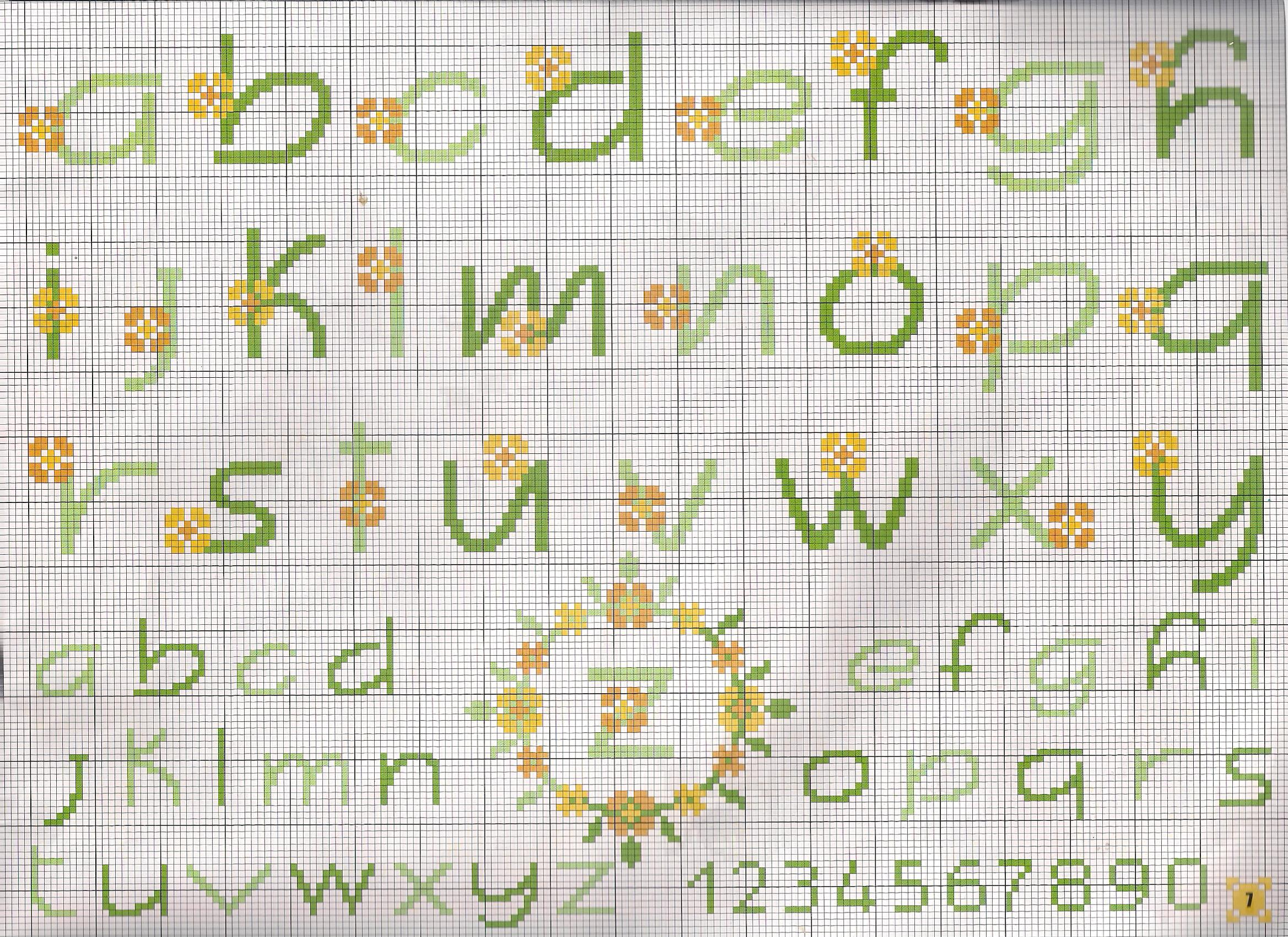 Alfabeto fiorellini gialli punto croce for Schemi punto a croce alfabeto
