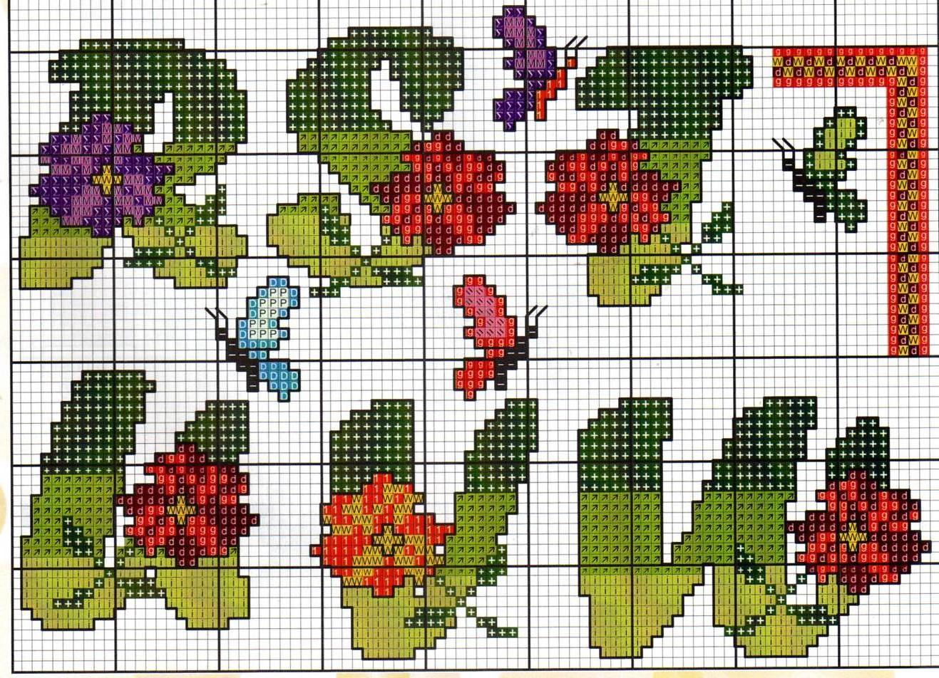 Alfabeto fiori farfalle13 punto croce for Schemi punto a croce alfabeto