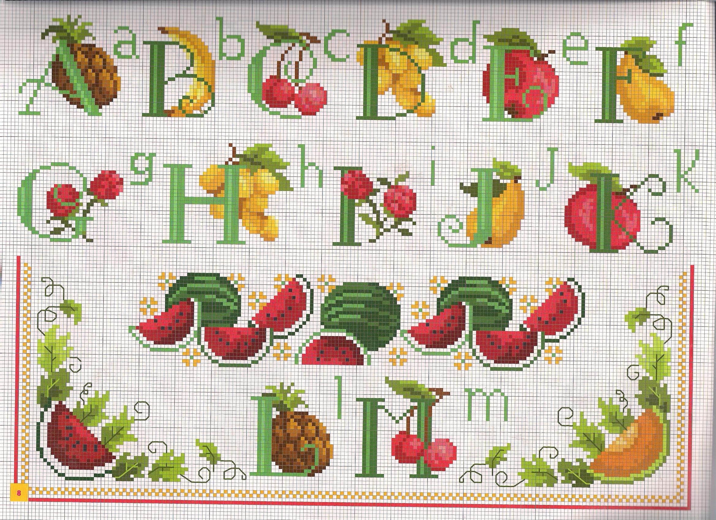 Alfabeto frutta1 punto croce uncinetto for Schemi punto a croce alfabeto