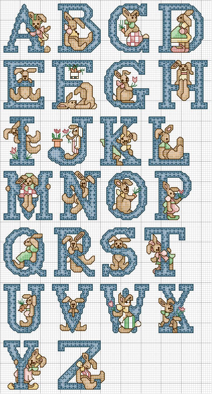 Alfabeto lettere blu con coniglietti marroni magiedifilo for Iniziali punto croce bambini