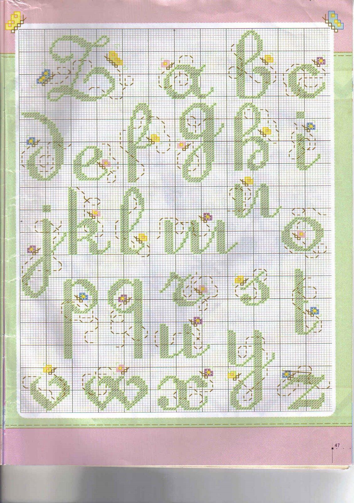 Alfabeto maiuscolo e minuscolo con farfalline in volo 4 for Farfalline punto croce