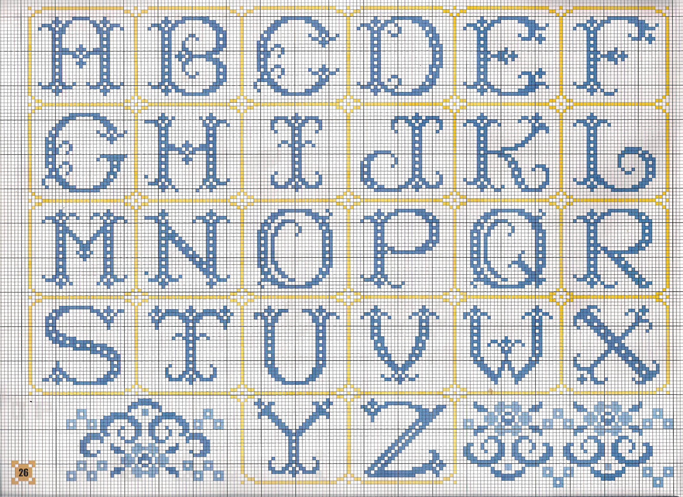 Alfabeto monocolore blu punto croce for Ricamo punto croce lettere