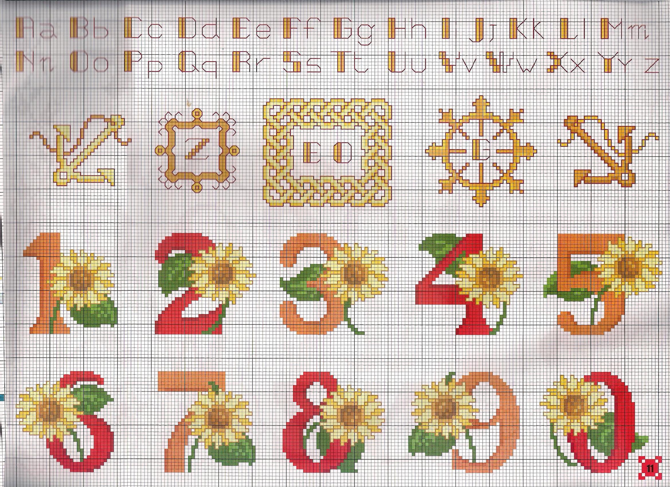 Alfabeto numeri girasole punto croce for Schemi punto a croce alfabeto