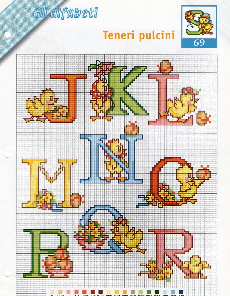 Alfabeto pasqua punto croce uncinetto for Schemi punto a croce alfabeto