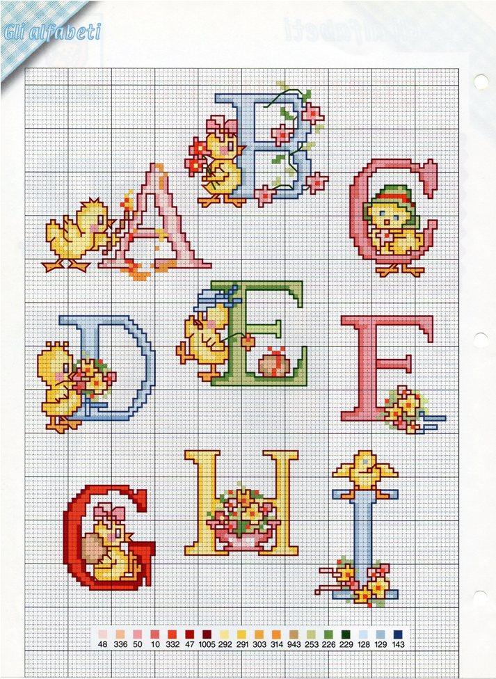 Alfabeto pasqua2 punto croce uncinetto for Schemi punto a croce alfabeto