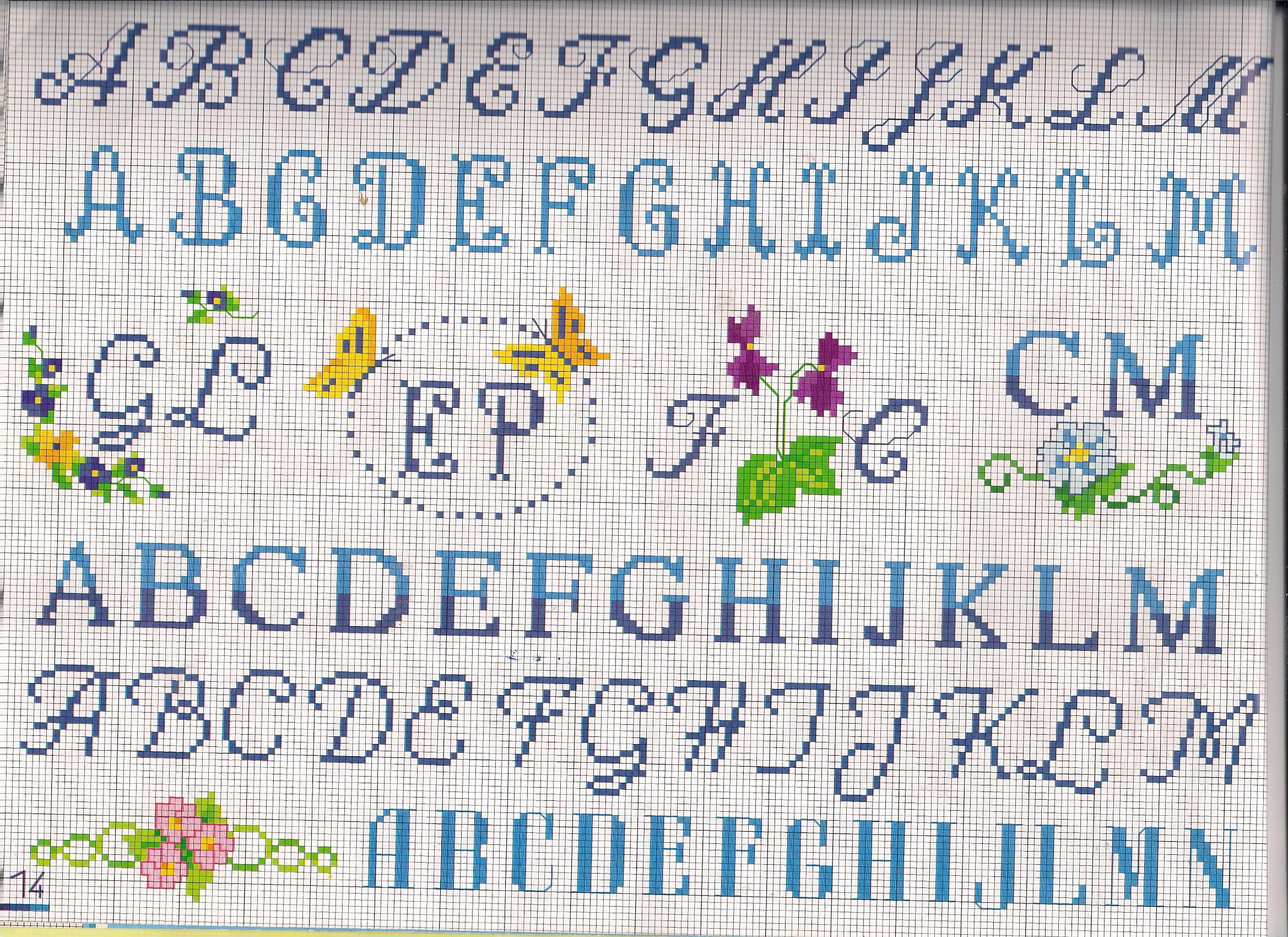 Alfabeto piccolo obl con farfalle punto for Schemi punto croce alfabeto bambini