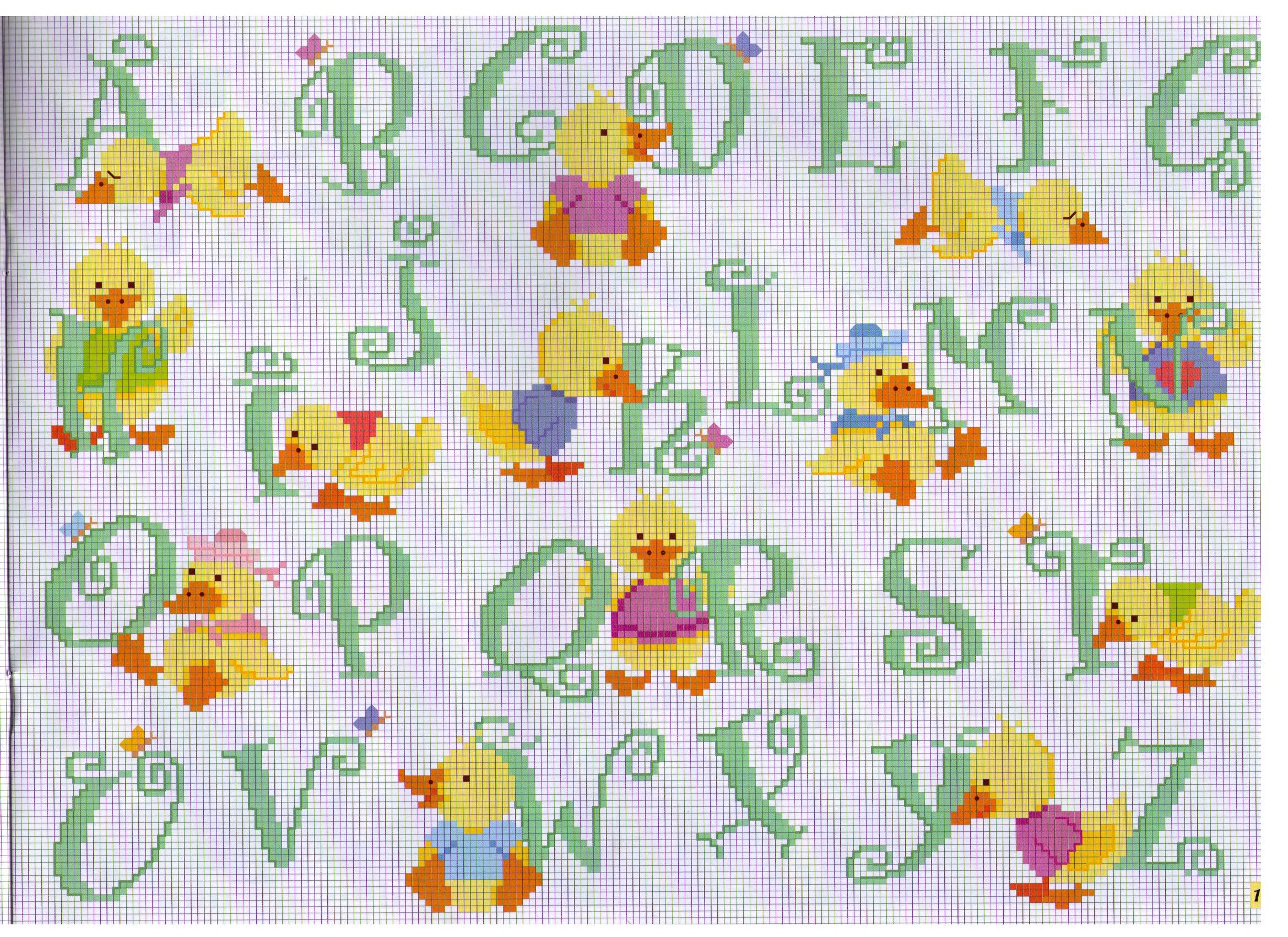 Alfabeto pulcini punto croce uncinetto for Alfabeti a punto croce per bambini
