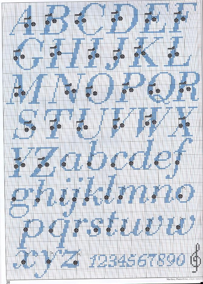 Alfabeto punto croce con note musicali for Lettere a punto croce schemi