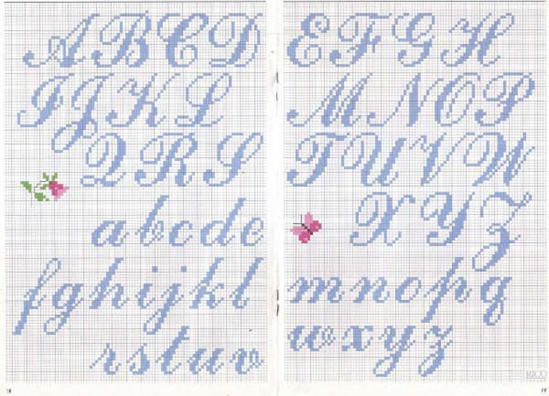 Alfabeto punto croce corsivo azzurro for Ricamo punto croce alfabeto