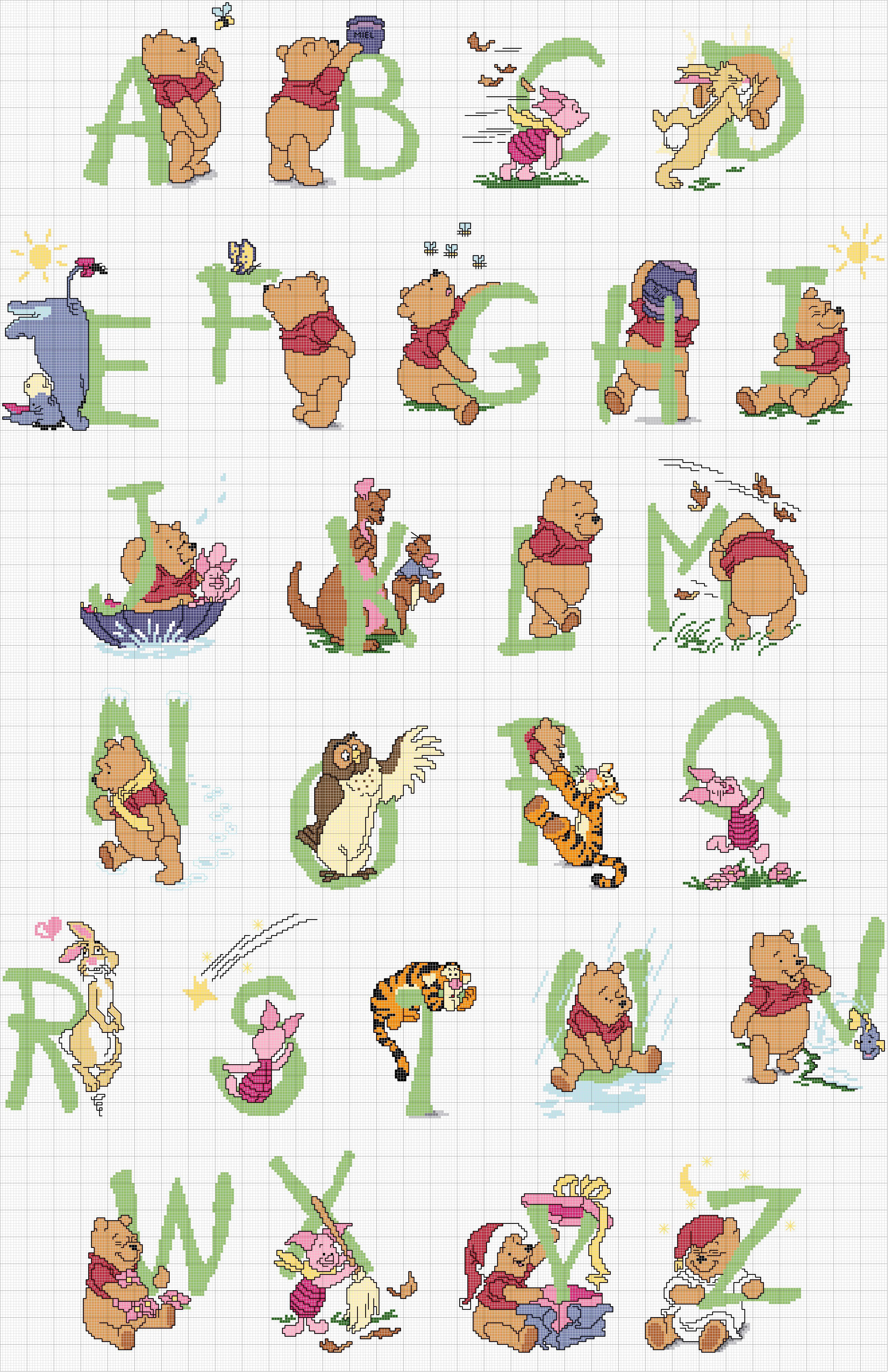 Alfabeto punto croce lettere verdi winnie the pooh for Winnie the pooh punto croce schemi