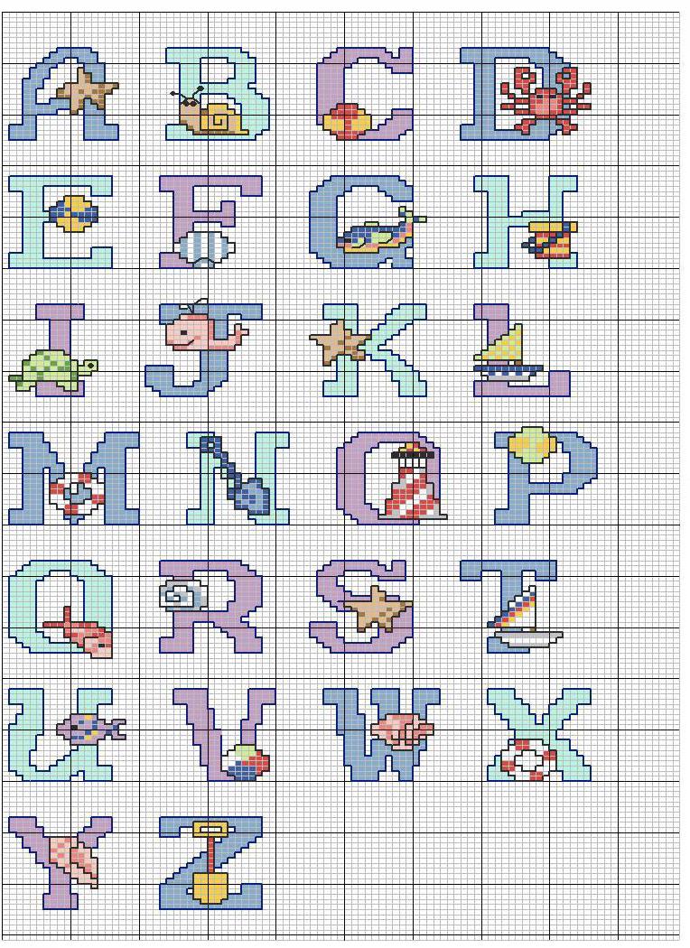 Alfabeto punto croce mare con conciglie secchiello pallone for Schemi punto croce alfabeto bambini