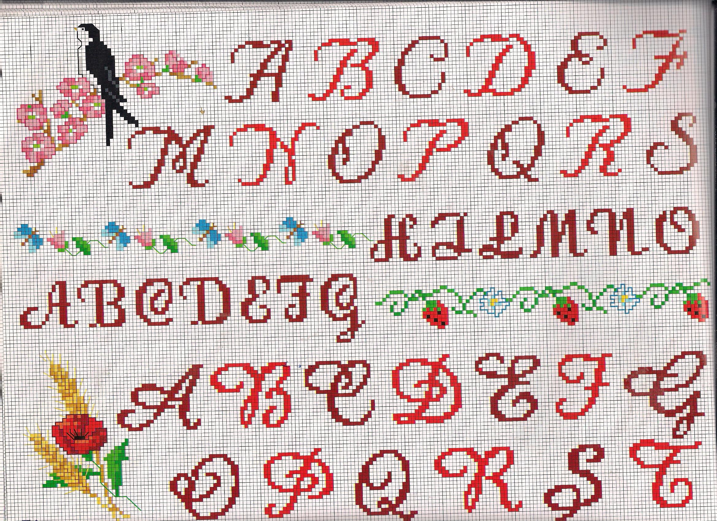 Alfabeto rondine su ramo punto croce for Schemi punto a croce alfabeto
