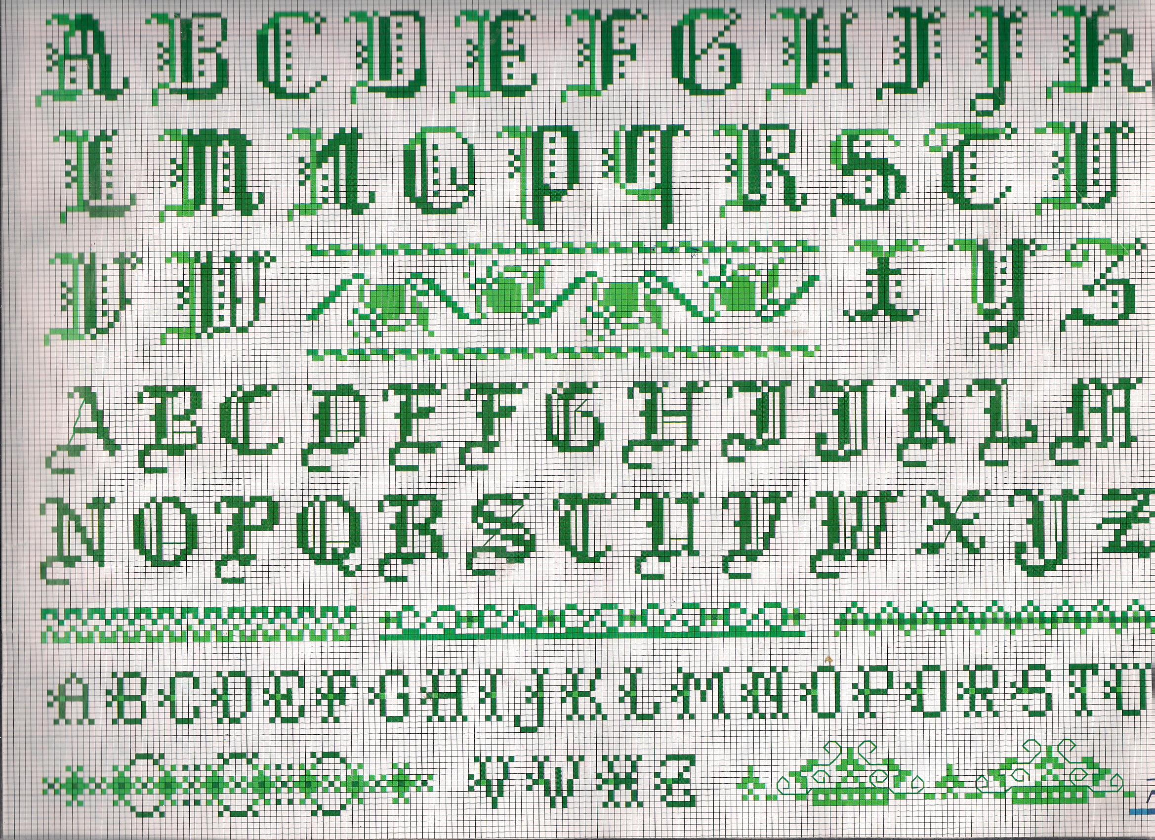 Alfabeto stampatello greche punto croce for Schemi lettere punto croce