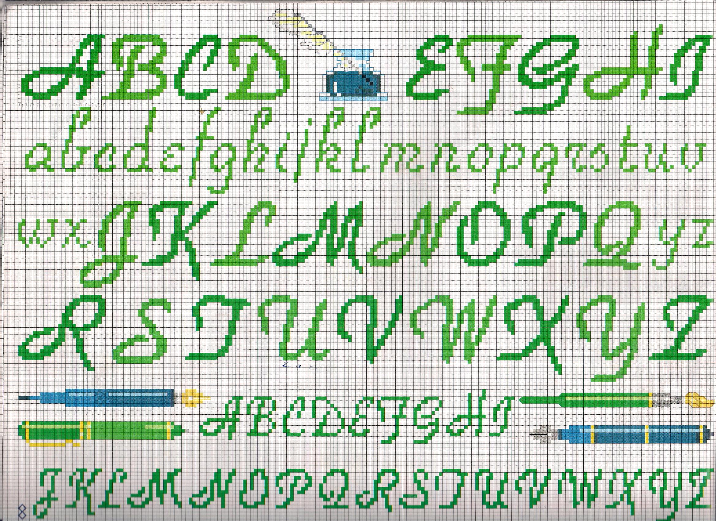 Alfabeto stampatello stilizzato punto for Schemi punto a croce alfabeto
