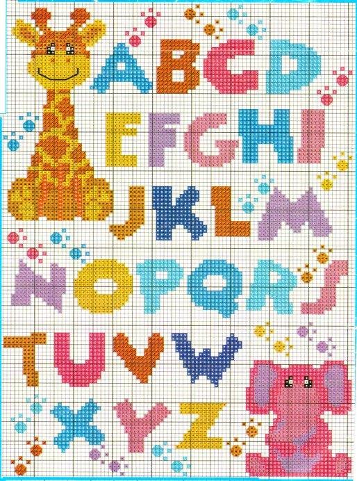 Alfabeto allegro giraffa punto croce for Schemi punto a croce alfabeto