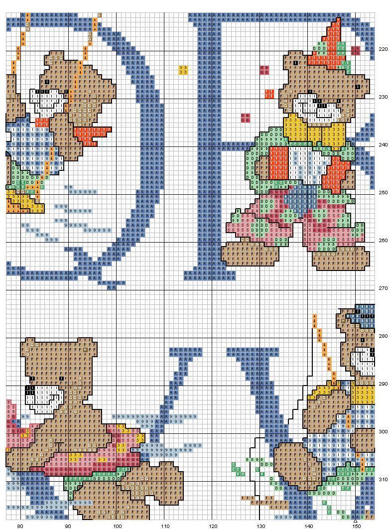 Alfabeto orsi 7 punto croce uncinetto for Punto croce schemi alfabeto