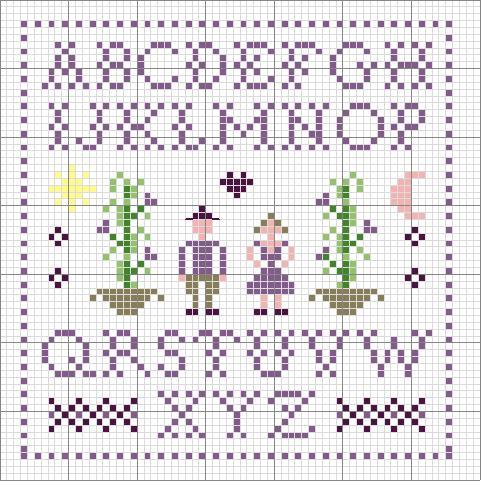 Semplice alfabeto lettere punto croce colore viola for Schemi lettere punto croce