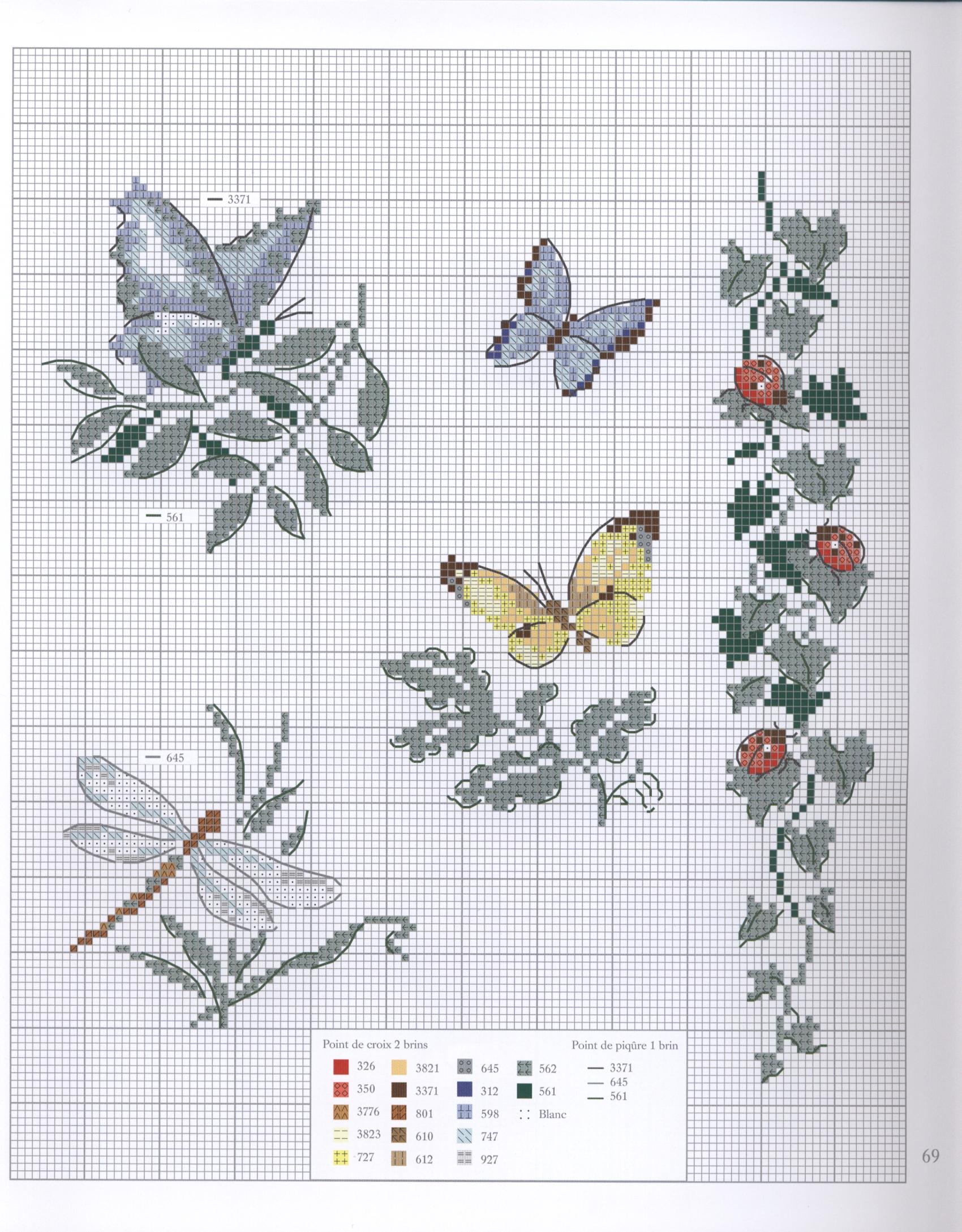 Farfalle foglie e coccinelle schema punto croce for Farfalle punto a croce