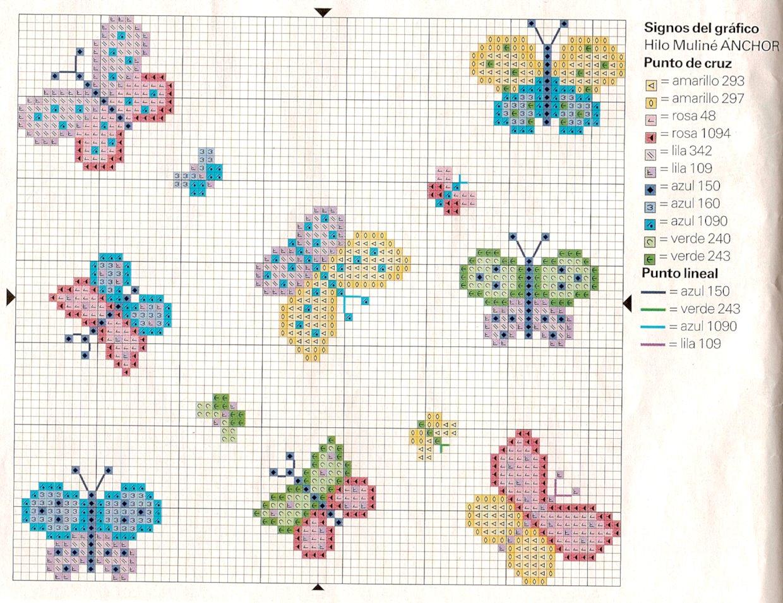 Farfalline semplicissime schema punto croce magiedifilo for Farfalle a punto croce