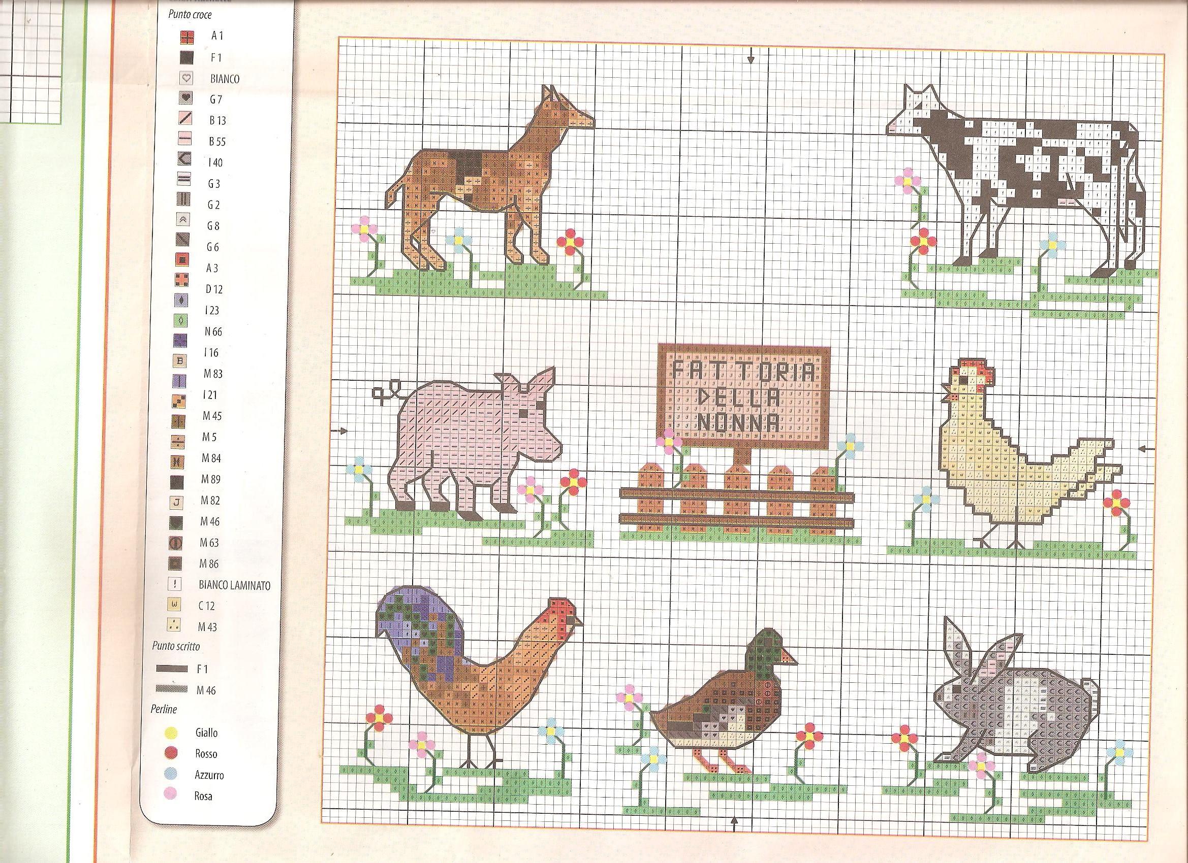 Schema punto croce la fattoria con vari animali 1 for Schemi punto croce animali