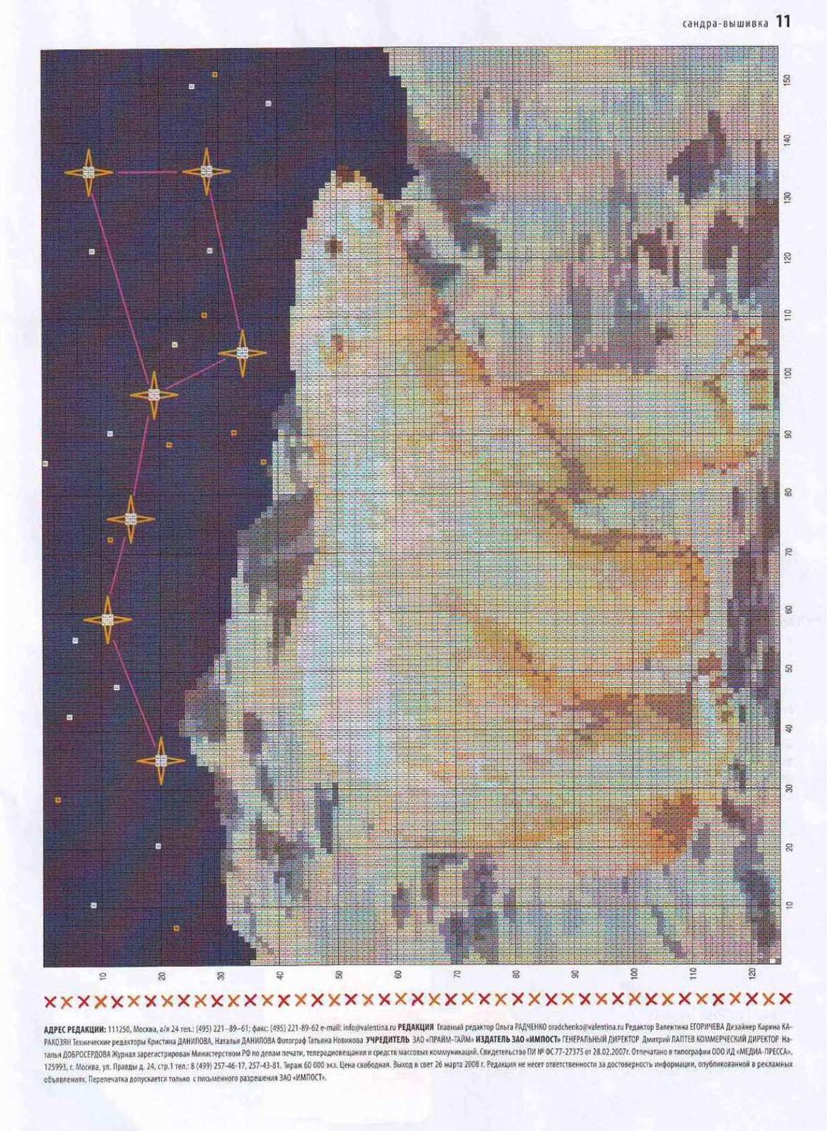 Un bellissimo orso polare schema punto croce nella for Schemi punto croce animali gratis