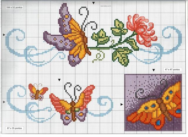 Farfalla in volo punto croce uncinetto for Schemi punto croce fiori e farfalle