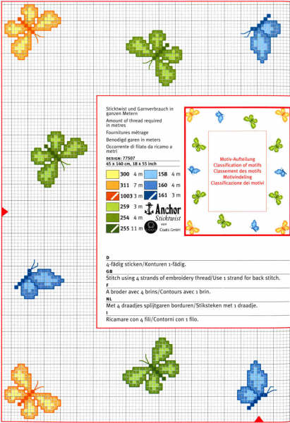 Farfalle punto croce verdi gialle e blu for Farfalle punto a croce