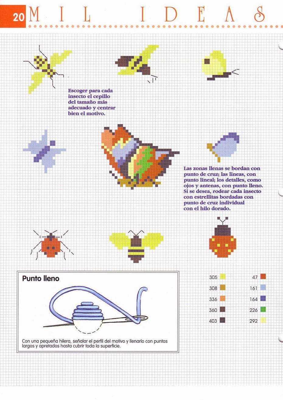 piccole farfalle api e coccinelle a punto croce