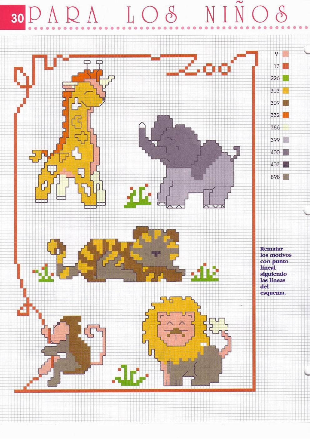 Piccoli animali punto croce giraffa elefante leone scimmia for Giraffa punto croce