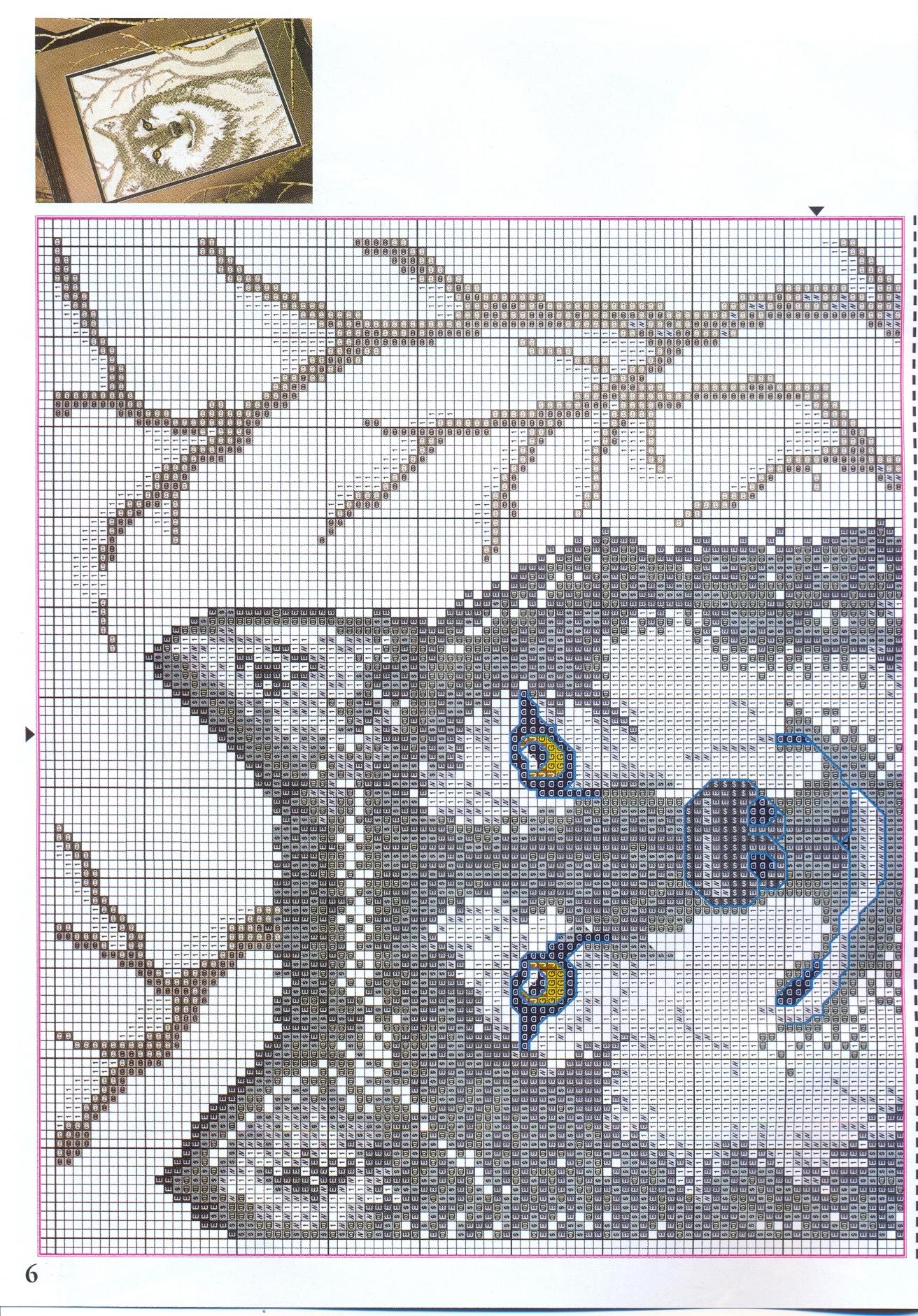 Quadro punto croce di un lupo 3 punto for Schemi punto croce animali