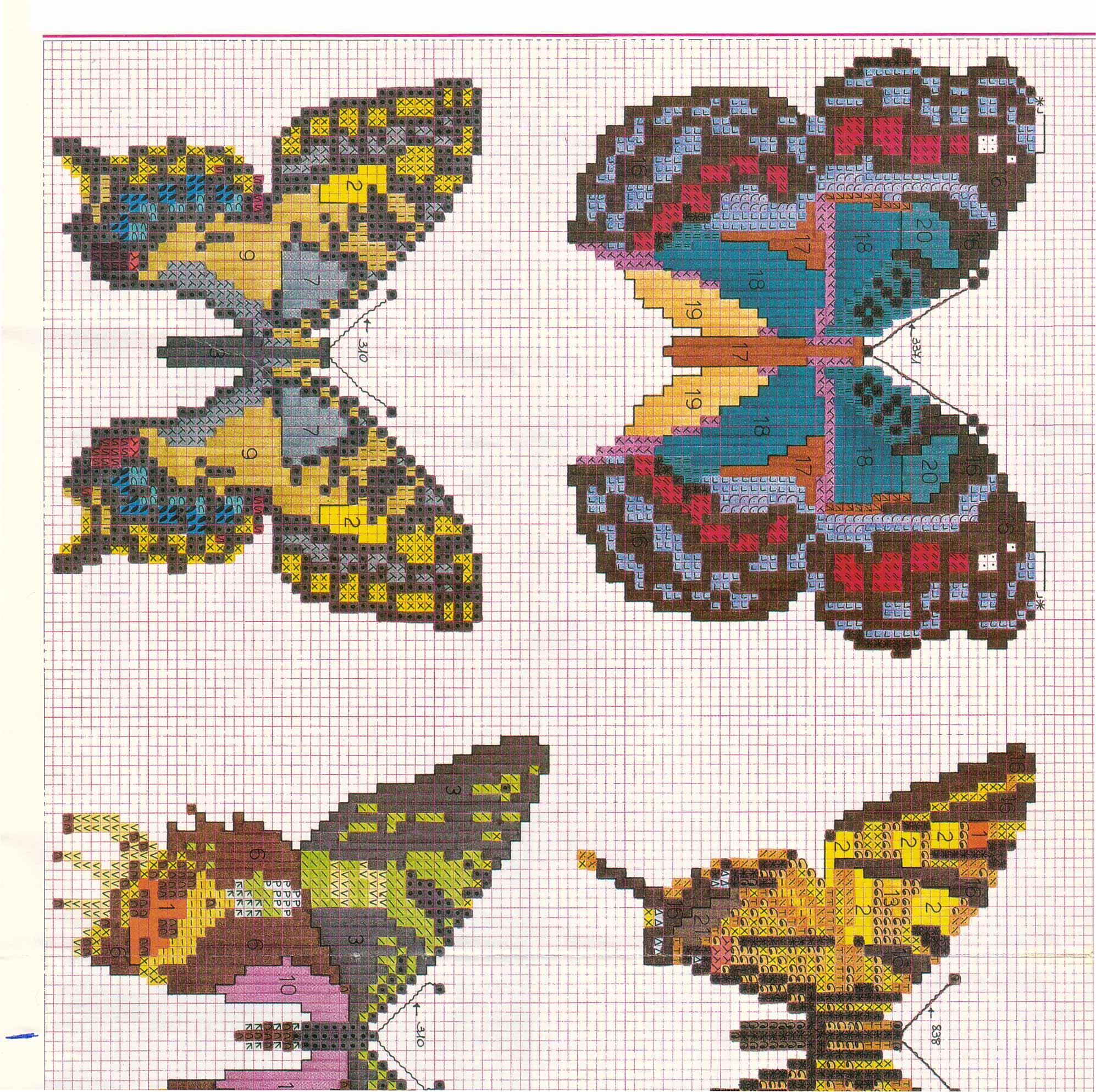 Schemi di farfalle punto croce molto realistiche 1 for Farfalle punto a croce