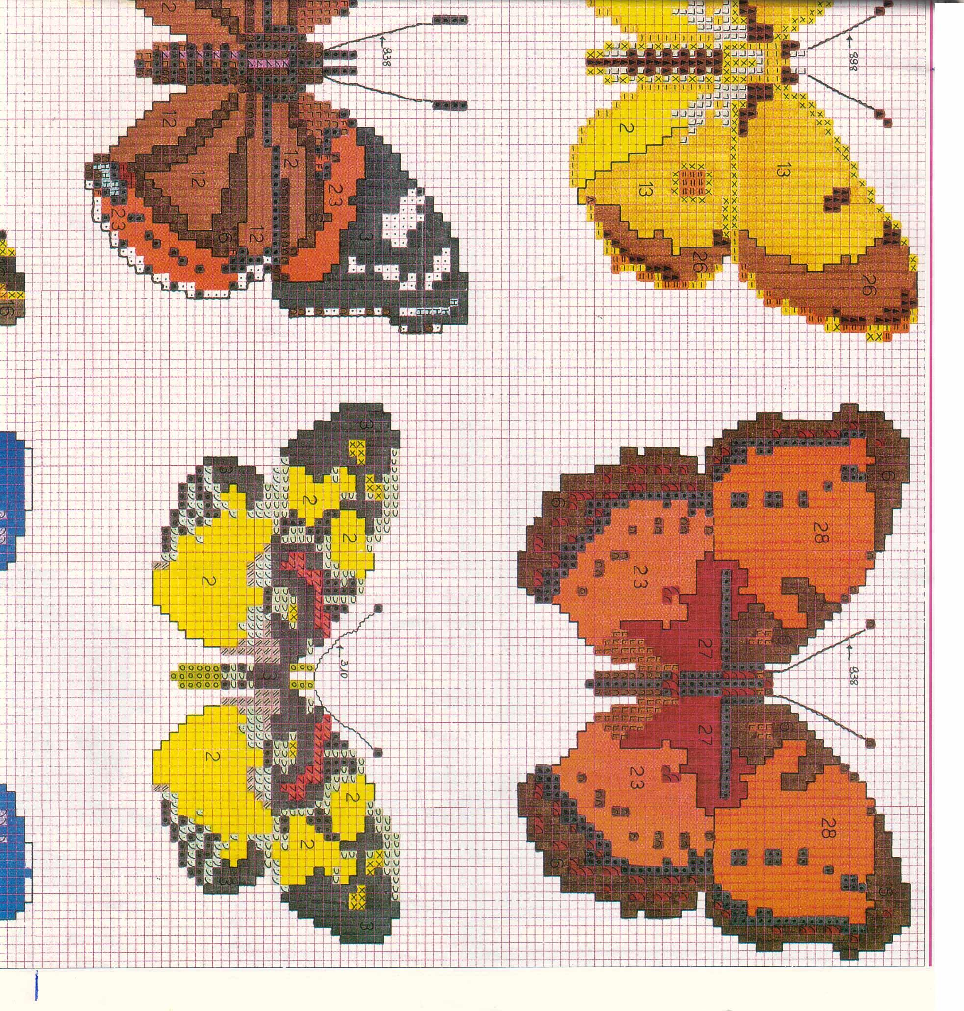 Schemi di farfalle punto croce molto realistiche 4 for Schemi punto croce farfalle