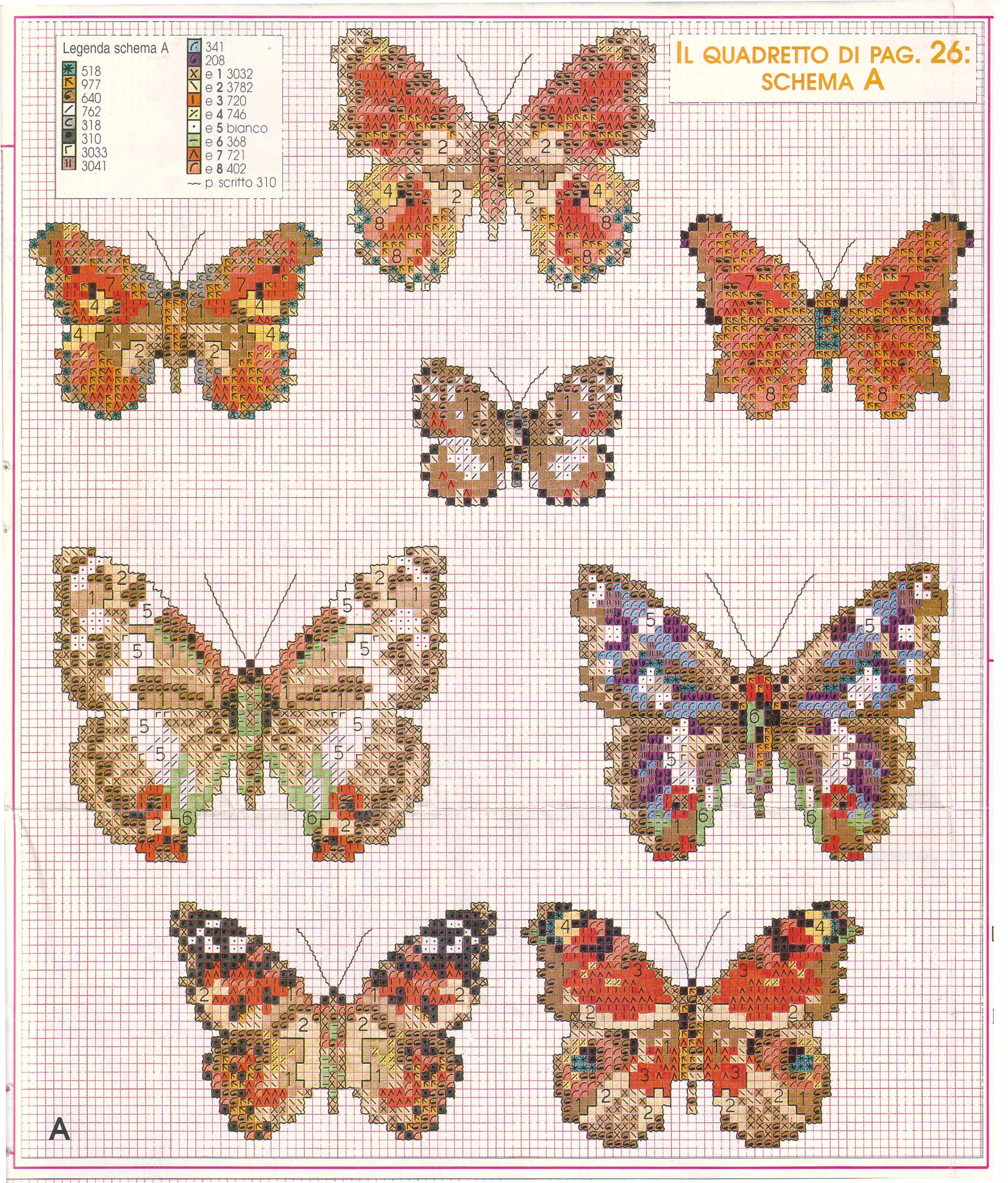 Schemi di farfalle punto croce molto realistiche 6 for Farfalle punto croce
