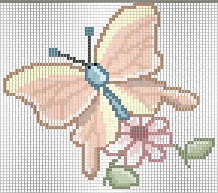 Semplice farfalla su fiore punto croce for Farfalline punto croce