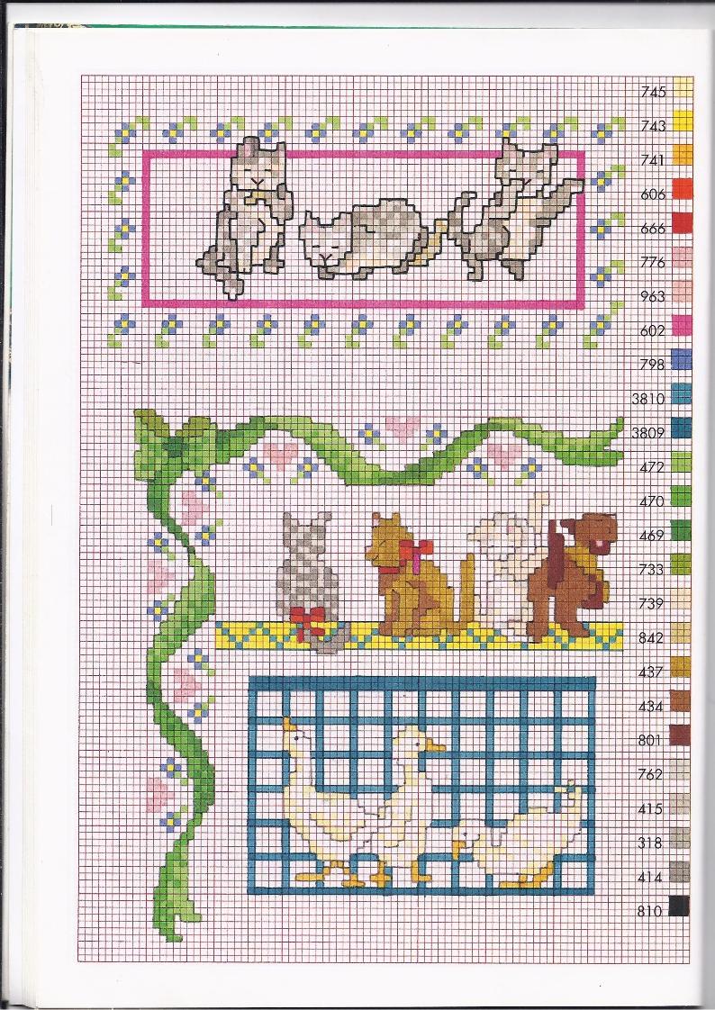 Bordi punto croce con gattini e paperelle for Bordi punto croce