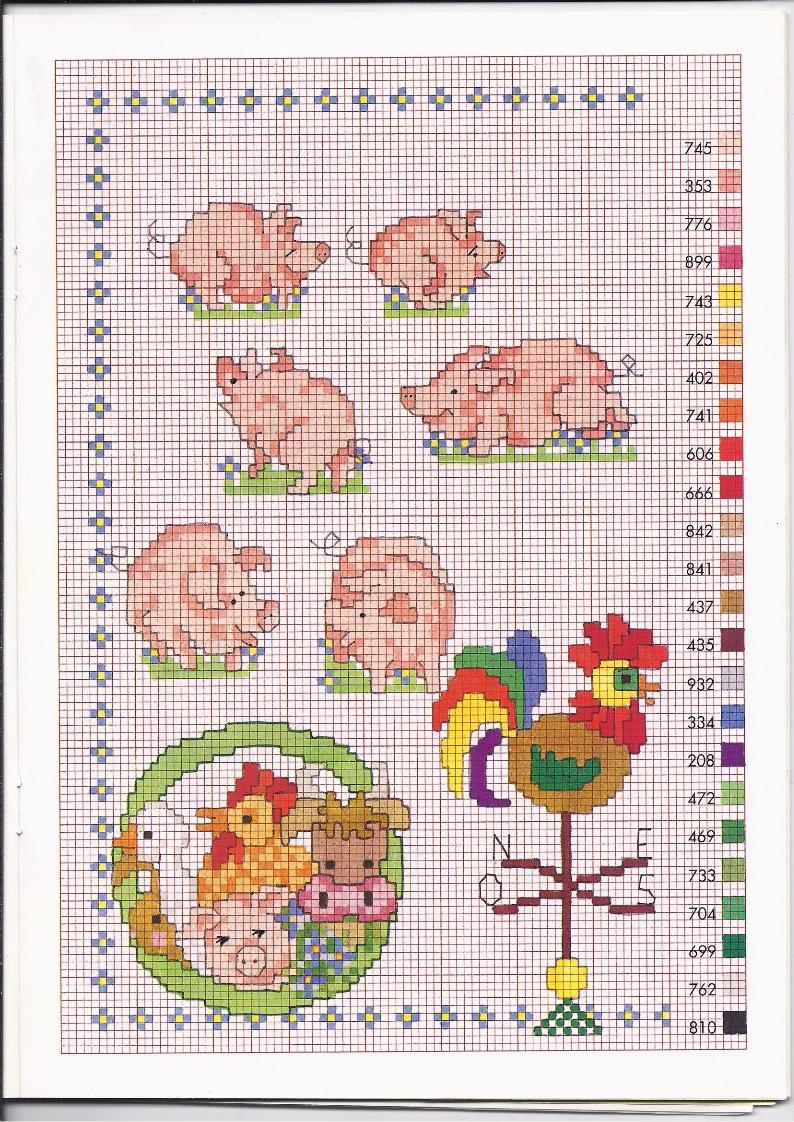 I maialini animali della fattoria schemi punto a croce for Animali a punto croce per bambini
