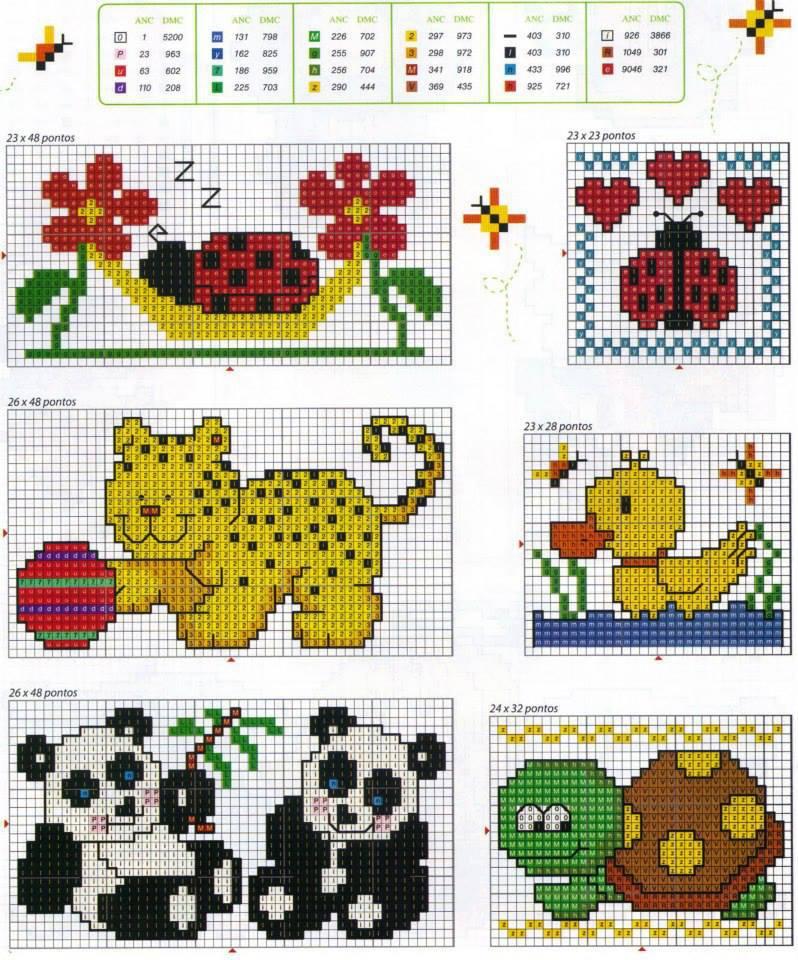 Piccoli animaletti coccinelle punto croce gratuiti for Piccoli ricami punto croce per bambini
