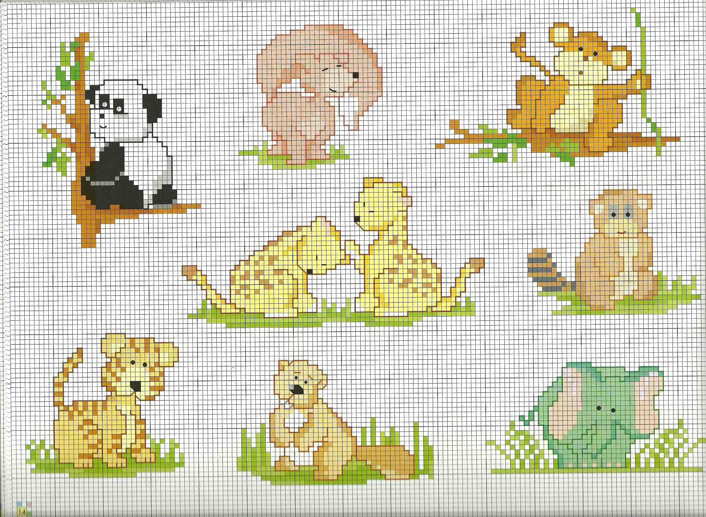 Schemi animali per bambini panda leoncino volpe for Schemi punto croce animali gratis