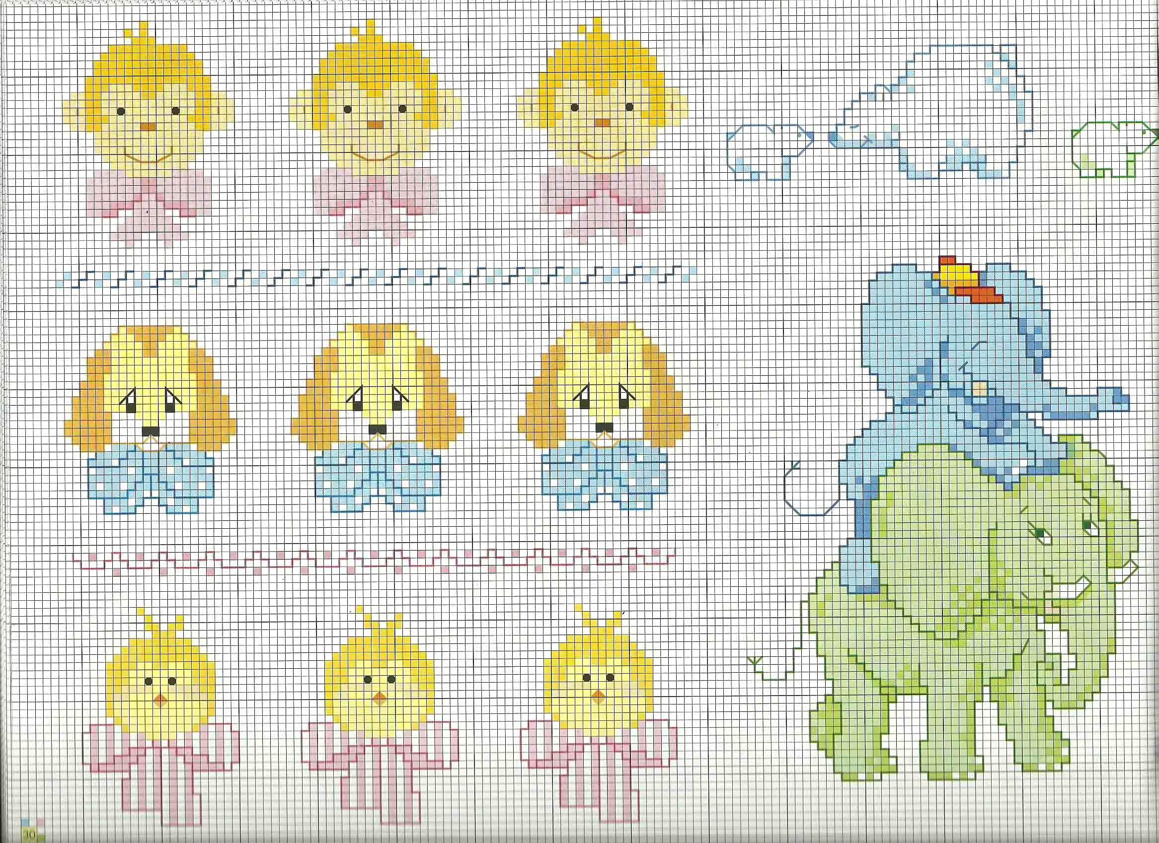 Schemi Elettrici Per Bambini : Schemi bebè copertina scimmiette cagnolini pulcini