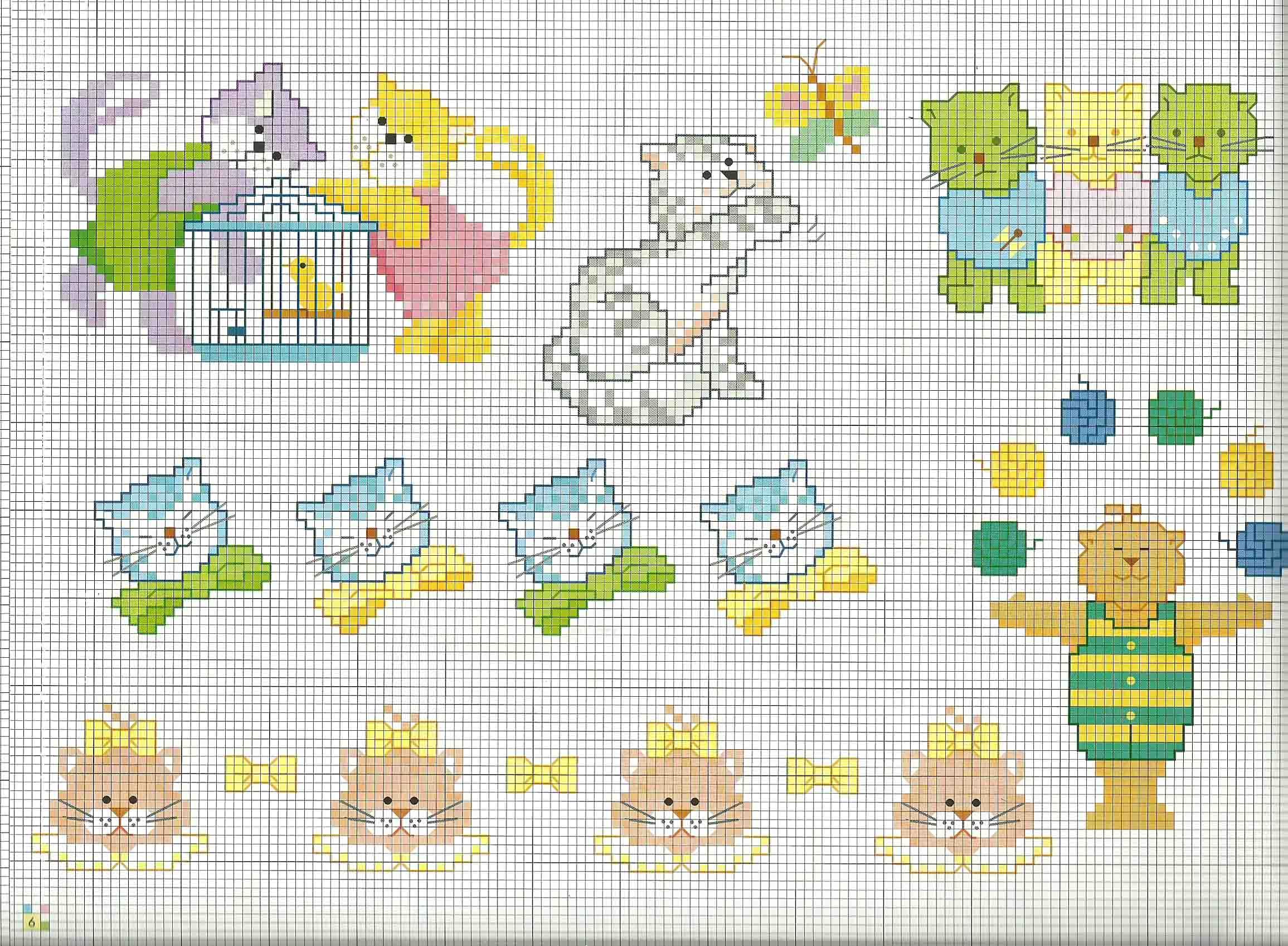 Schemi da ricamare animali per bambini gatti for Farfalle a punto croce per bambini
