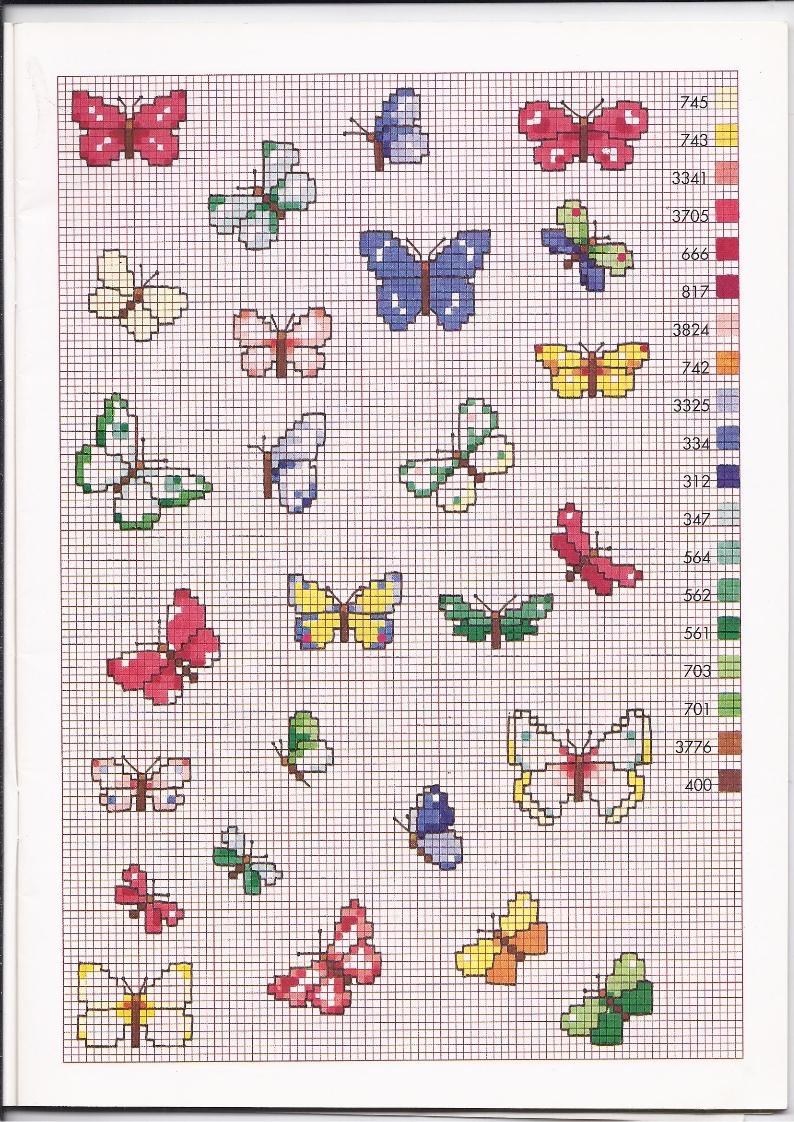 Tante farfalle colorate schemi punto croce piccoli for Schemi punto croce farfalle