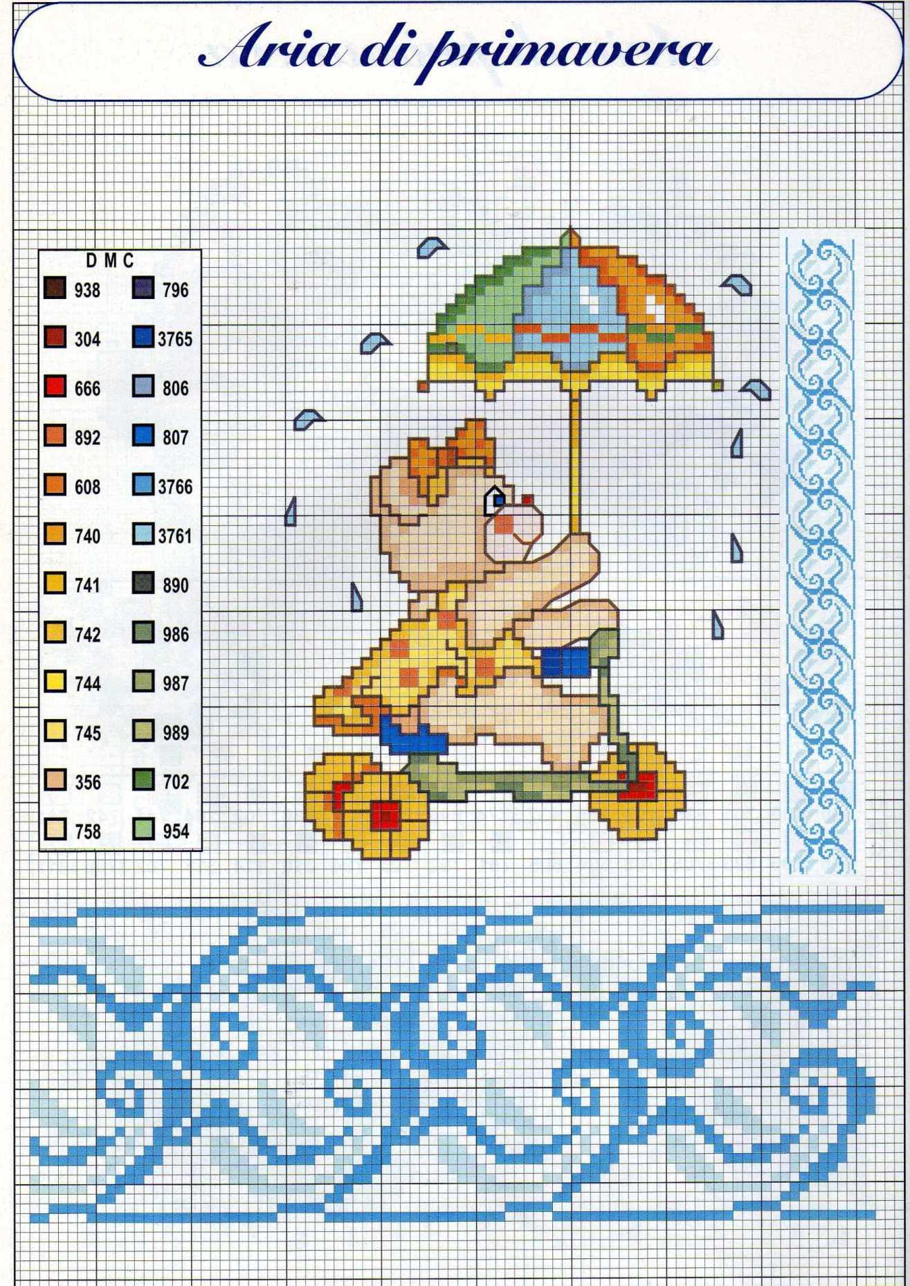Un 39 orsacchiotta con l 39 ombrello schema da ricamare animali for Schemi punto croce animali per bambini